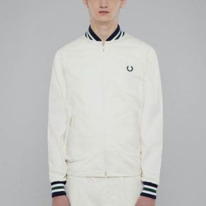 SALE Fred Perry White Tennis Bomber Jacket Sweats